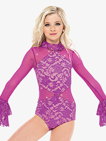 Womens Turning Tables Bell Sleeve Performance Leotard