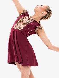 Girls/Womens Performance Rhinestone Short Sleeve Dress