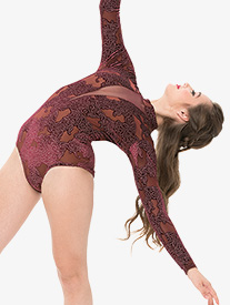 Womens Mesh Insert Performance Long Sleeve Leotard