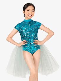 Girls Performance Bustled Lace Short Sleeve Leotard