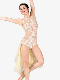 Womens Performance Bustled Romantic Lace Leotard