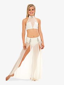 Womens Double Slit Long Performance Skirt