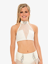 Womens/Girls Performance Mock Neck Crop Top with Rhinestones
