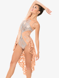Womens Metallic Bustled Performance Tank Leotard