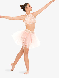 Womens Pink Moon Rose Vine Performance Tutu Skirt