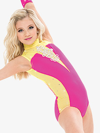 Womens/Girls Mock Neck Plunging Mesh Performance Leotard with Rhinestones