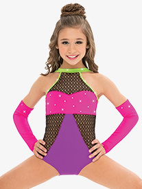 Womens/Girls No Promises Colorblock Mesh Performance Leotard with Rhinestones