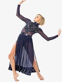 Girls/Womens Sequin Lace Long Sleeve Performance Dress