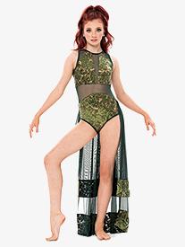 Girls/Womens Sequin Lace Long Tank Performance Dress