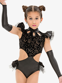 Womens/Girls Faux Leather Bustled Performance Leotard