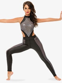 Womens/Girls Sledgehammer Sequined Pleather Halter Unitard