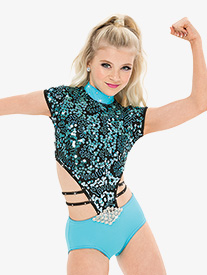 Womens/Girls Sequin Cap Sleeve Performance Leotard with Rhinestones
