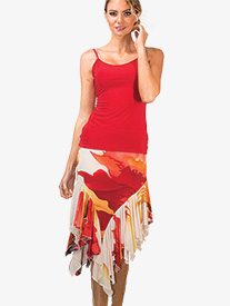 Womens Asymmetrical Ruffled Ballroom Skirt