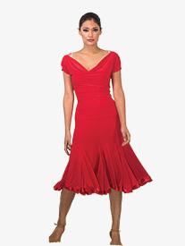 Womens 8 Panel Satin Hem Ballroom Skirt