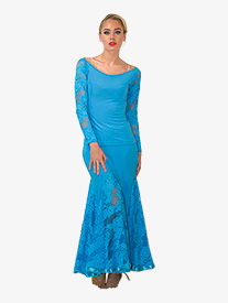 Womens Long Lace Godet Ballroom Skirt