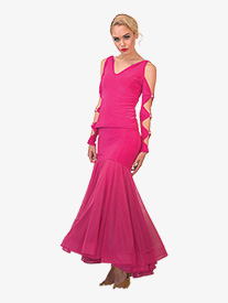 Womens Long Mesh Ballroom Skirt