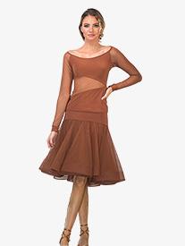 Womens Mesh Overlay Trumpet Ballroom Skirt