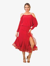 Womens Mesh Trimmed Trumpet Ballroom Skirt