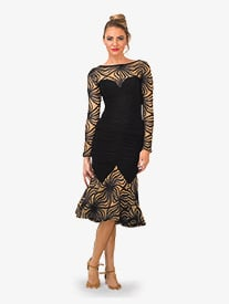 Womens Mid-Length Angelica Anemone Ballroom Skirt