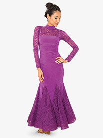Womens Long Lace Godet Ballroom Dance Skirt