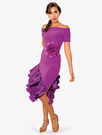 Womens Asymmetrical Ruffled Ballroom Dance Skirt