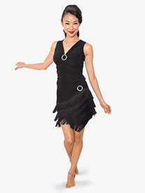 Womens Short Fringe Ballroom Dance Skirt