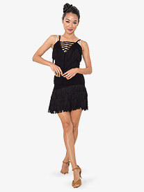 Womens Frangia Short Fringe Ballroom Dance Skirt