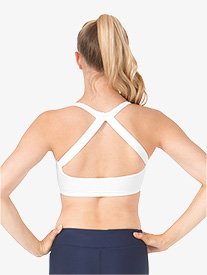 Womens Compression Double Strap Halter Bra Top