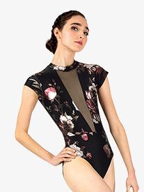 Womens Metallic Rose Mesh Short Sleeve Leotard