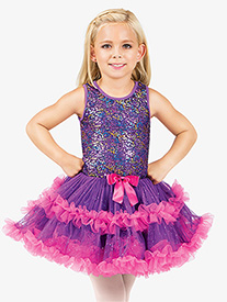 Girls Purple Sequin Bodice Tank Tutu Costume Dress