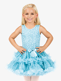 Girls Blue Sequin Bodice Tank Tutu Costume Dress