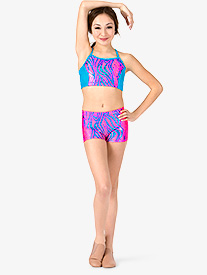 Girls Metallic Neon Zebra Print Dance Shorts