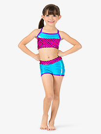 Girls Mermaid Sequins Insert Metallic Dance Shorts