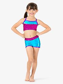 Girls Mermaid Sequins Insert Metallic Dance Shorts