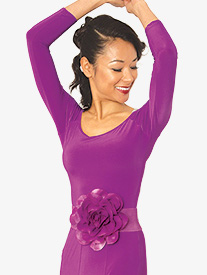 Womens Boat Neck 3/4 Sleeve Ballroom Dance Top