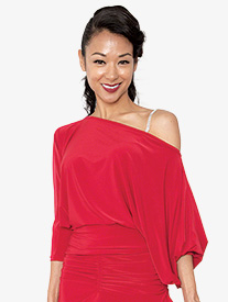 Womens Off-The-Shoulder Ballroom Dance Top