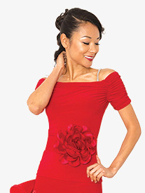 Womens Gathered Short Sleeve Ballroom Dance Top