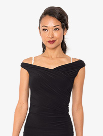 Womens Wrap Off-The-Shoulder Ballroom Dance Top