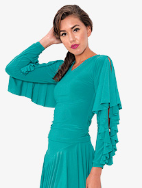 Womens V-Front Ruffled Long Sleeve Ballroom Dance Top