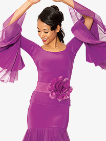 Womens Off-The-Shoulder Bell Sleeve Ballroom Dance Top
