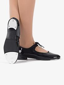 Girls Tap Star Ribbon Tie Elastic Tap Shoes