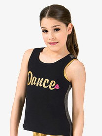 Girls Dance Metallic Mesh Dance Tank Top
