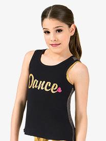 Girls Dance Metallic Mesh Dance Tank Top