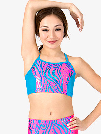 Girls Neon Zebra Dot Print X-Back Dance Bra Top