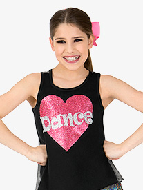Girls Dance Glitter Heart Dance Tank Top