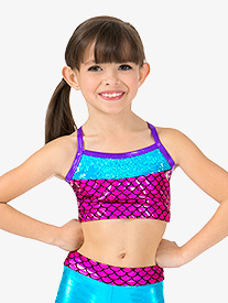 Girls Mermaid Sequins Metallic Camisole Dance Bra Top
