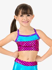 Girls Mermaid Sequins Metallic Camisole Dance Bra Top