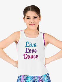 Girls Live Love Dance Mesh Dance Tank Top