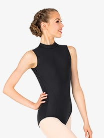 Womens Mock Neck Open Back Leotard