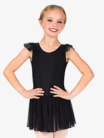 Girls Mesh Flutter Sleeve Ballet Dress